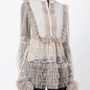 NWT! Amen Sheer Mix Lace Blouse - RETAILS $875!